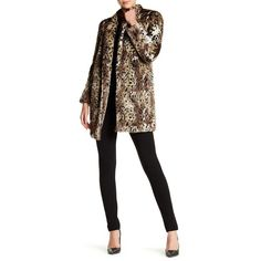 Rebecca Taylor Leopard Faux Fur Coat ($250) ❤ liked on Polyvore featuring outerwear, coats, leopard, leopard coat, rebecca taylor coat, long sleeve coat, imitation fur coats and leopard print faux fur coat