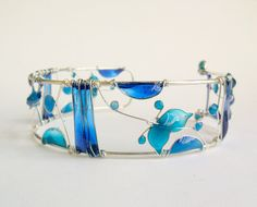 Blue resin cuff, sea inspired bracelet, dragonfly, butterfly, stained glass jewelry, unique jewelry