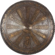 16th Century Style Round Etched & Gilt Shield
