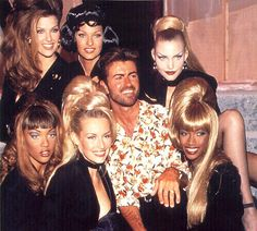 "malesoulmakeup:  ""Too Funky"" (Backstage) 1992 George Michael with Nadja Auermann, Linda Evangelista, Tyra Banks, Shana Zadrick, Estelle Lefebure & Beverly Peele"