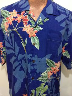Tommy Bahama Royal Blue Red Floral Green Leaf Hawaiian Short Sleeve Silk Shirt M #TommyBahama #Hawaiian