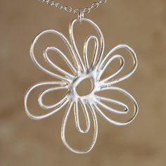 African Daisy Pendant by Garden of Silver   Garden of Silver