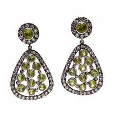 Green Peridot & CZ Sterling Silver Stud Earrings by Motimanijewels, $125.00