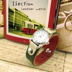 【2セクション/レザーウォッチ】本革レザーでメンズ・レディース兼用のブレス腕時計!限定カラーでギフトにもオススメ◎