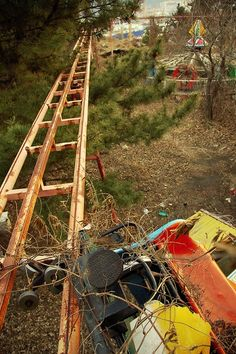 Okpo Land in South Korea Closed in 1999 - hanging car left from when girl died.