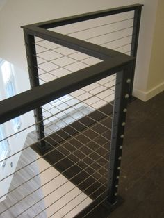 Loving our modern cable-wire aluminum railing! Loft Railing, Iron Stair Railing, Steel Railing, Balcony Railing, Railing Design, Banisters, Railings, Railing Ideas, Cable Railing