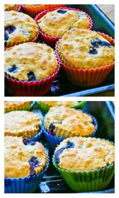 Recipe for Low-Sugar Whole Wheat and Oatmeal Blueberry Muffins with Lemon.  I use Stevia Granulated for these amazing muffins, but you can use other sweeteners, or make them with sugar if you like the idea of a muffin with oats and don't care if they're low sugar. [from Kalyn's Kitchen] #LowSugarBaking  #Oatmeal  #WholeWheat