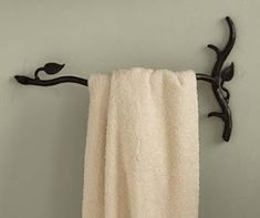 Hand Forged Branch And Leaf Towel Bar