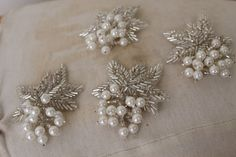 Cute embroidered and beaded applique 2 pieces by paviapavia, $6.95