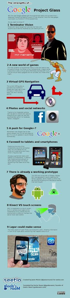 The Strengths of Project Glass [Infographic] Google Glass, Web 2.0, Le Web, Viria, Social Networks, Social Media, Belly Fat Burner Workout, Sistema Android, Gps Navigation