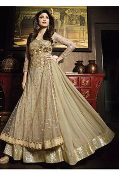 Shilpa Golden Beige Net Embroidered Anarkali