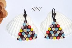 Flowery Peyote Beaded Triangle handmade earings available in more colours