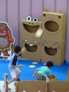 181 Likes, 6 comments - ? Indoor Activities For Kids, Toddler Activities, Games For Kids, Diy For Kids, Toddler Play, Kids Crafts, Carnival Games, Cardboard Crafts, Imaginative Play