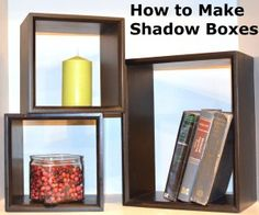 How to make shadow boxes tutorial- easy and fun!  These can either be hung on the wall or stacked informally (like in pic) on flat surface.