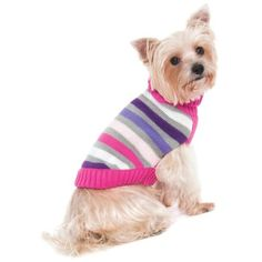 Fashion Pet Lookin Good Striped Turtleneck Sweater for Dogs, Medium, Pink
