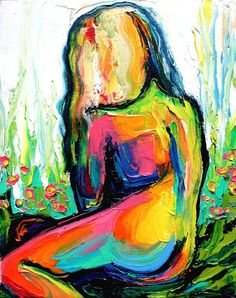 IMPASTO ABSTRACT NUDE OIL PAINTING BY AJA BY SAGITTARIUSGALLERY, $98.00