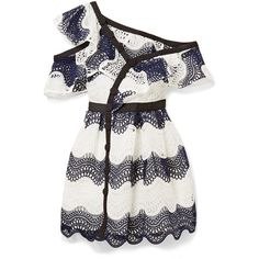 Self-Portrait One-shoulder striped guipure lace mini dress ($440) ❤ liked on Polyvore featuring dresses, stripe dresses, lace babydoll dress, short dresses, striped dress and lace dress