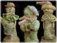 Victorian Pink Snowman Whimsies