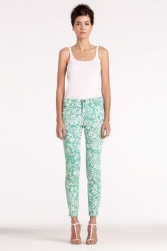 DVF + Current/Elliott The Classic Skinny In Mint Tropical Plants