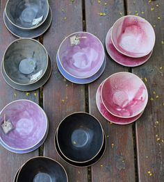 Lovely black, grey, pink and purple bowls for soup or cereal or ice cream