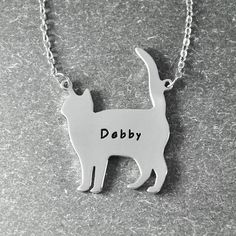 Free shipping - Customized cat necklace , engrave cat  name necklace , cat necklace in handmade , cat name pendant by lovesignature on Etsy https://www.etsy.com/listing/191845979/free-shipping-customized-cat-necklace