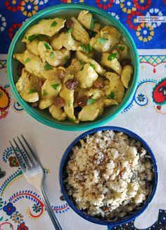 Pollo marroquí con cuscús de coliflor y frutos secos. Receta