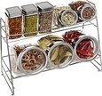 Amazon.com: Set of 8 Deluxe Clear Glass Lidded Condiment Canister Jars / Spice Shakers w/ 2 Tier Metal Display Rack: Kitchen & Dining