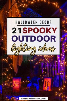 Want to add some outdoor Halloween lighting but need some ideas on what to do? Learn some great ways to add spooky outdoor Halloween decorations to your yard. Halloween Graveyard, Halloween Scene, Halloween Banner, Halloween Haunted Houses, Halloween Birthday, Outdoor Halloween, Scary Halloween, Haunted House Decorations, Halloween Yard Decorations