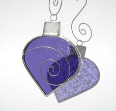 3 Purple & White Swirl Christmas Ornaments in Stained Glass - Choose 3 from selection of 5 (see pictures)