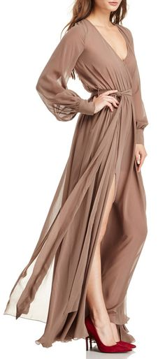 Taupe Sheer Maxi-A slightly higher neckline would give this dress a classy touch of modesty which is deeply deserved, because this gown is gorgeous.