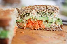 Vegan Humdinger  Hummus, Carrot, Cucumber, Avocado, and Alfalfa Sprouts Sandwich
