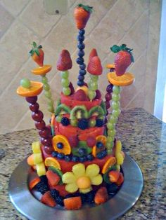 Watermelon Cake.....hm...I wonder if this could be done with pineapple?!?!