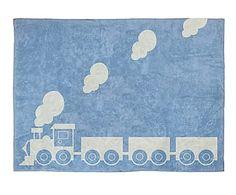 Alfombra de algodón Tren, azul– 120x160 cm
