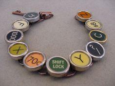 COPPER TYPEWRITER Key BRACELET Random Mix of Rare Colors typewriter key jewelry by magiccloset on Etsy