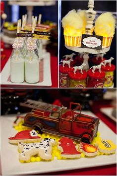 """Fire Truck Birthday Party Food Ideas - """"flaming"""" cotton candy (fluffs on top of flameless votives? Fireman Party, Firefighter Birthday, Third Birthday, Boy Birthday, Birthday Ideas, Birthday Parties, Living At Home, Fire Trucks, Food Ideas"""