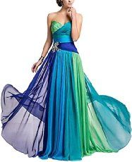 Bigood Bustier Form Damen Langes Kleid Abendkleid Cocktailkleid Bunt