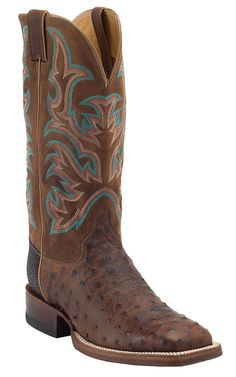 Justin® AQHA Remuda™ Mens Antique Saddle Full Quill Ostrich with Brandy Jurassic Goat Top Exotic Square Toe Cowboy Boot