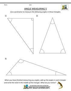printable geometry worksheets angle measuring 4 | Math | Pinterest ...