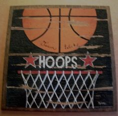 BASKETBALL Hoops Ball Sports Art Wall Room Sign