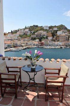 Balcony with a wonderful view of the Island of Ydra, Greece...