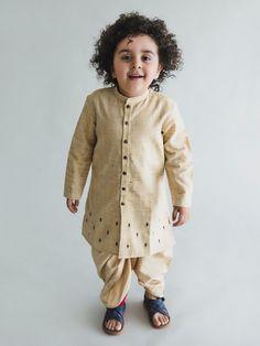 Beige Embroidered Khadi Cotton Kurta with Dhoti - Set of 2 Baby Party Wear Dress, Kids Party Wear Dresses, Kids Dress Wear, Baby Boy Dress, Kids Wear, Baby Boy Outfits, Baby Boy Ethnic Wear, Kids Ethnic Wear, Kids Indian Wear