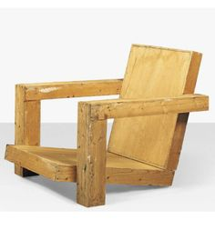 Gerrit Rietveld; Full-Size Pine Maquette for a Lounge Chair, c1950.