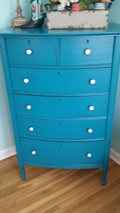 Repurposed Antique Dresser painted in Teal Blue with New Hardware