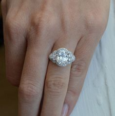 Oval Shaped Engagement Ring - Silver Art Deco Ring - Cubic Zirconia Ring - Promise Ring - Silver Estate Ring on Etsy, $90.00