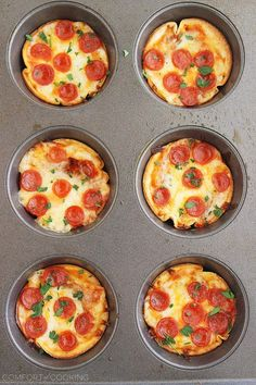Easy Mini Tortilla Pizzas – These crisp and gooey pizzas just need 4 ingredients and 10 minutes. Bake 'til bubbly and golden in your muffin tin! | thecomfortofcooking.com
