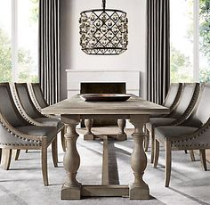 Restoration Hardware 4 Finish Options C Priory Rectangular Dining Table 1695 2095 Dining Room Lighting, Dining Room Chairs, Dining Room Furniture, Dining Room Chandeliers, Large Dining Room Table, Home Decor Furniture, Home Furnishings, Dining Table Design, Dining Room Inspiration