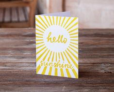 Hello Sunshine greetings card. This summery fun linocut card is sure to brighten someone's day. #sunshine #linocut #etsyfinds