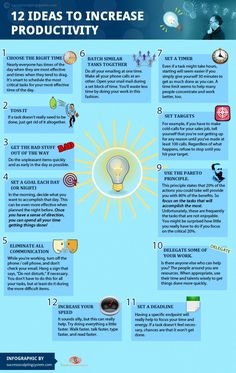 On-the-Job Advice from ComeRecommended....Infographic Showing 12 Ideas to Increase Productivity
