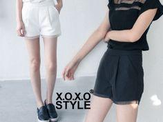 X.O.X.O. 【P041602】0416 設計師款褲口拼紗特殊面料質感西裝短褲 黑/白/S/M 預購 550