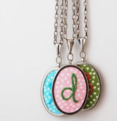 New embroidered initial pendants   Merriweather Council on @Etsy